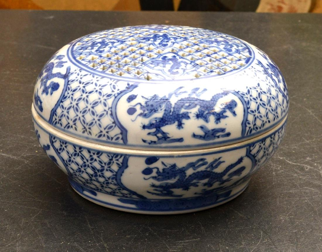 (3) Chinese blue and white porcelain dragon boxes - 8