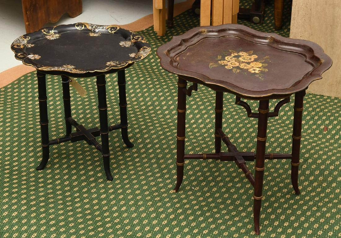 (2) Victorian style tray tables