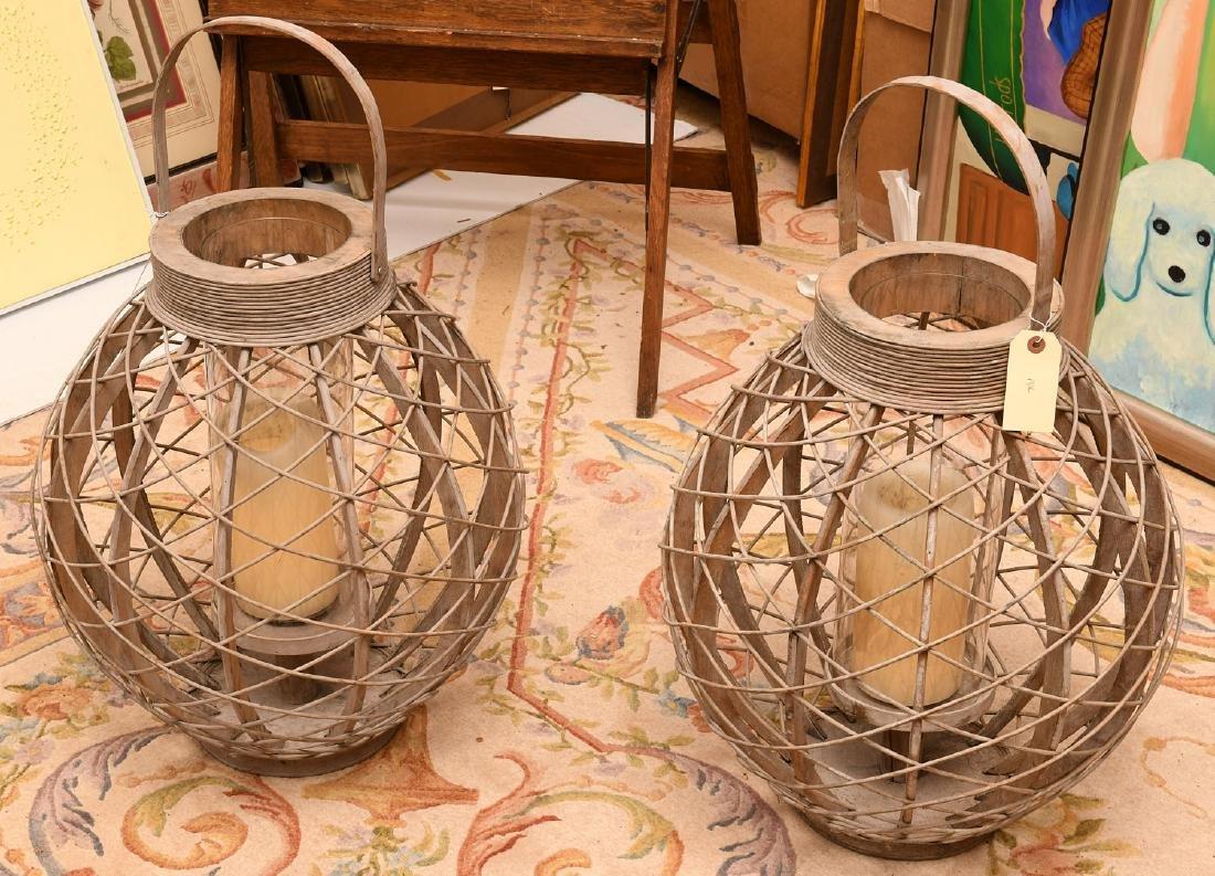 Pair large decorator rattan candle lanterns