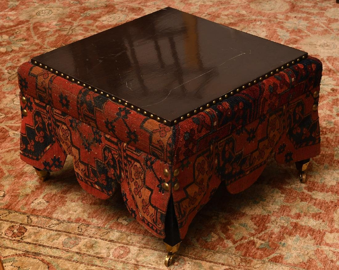 Decorator Persian carpet skirted table on casters