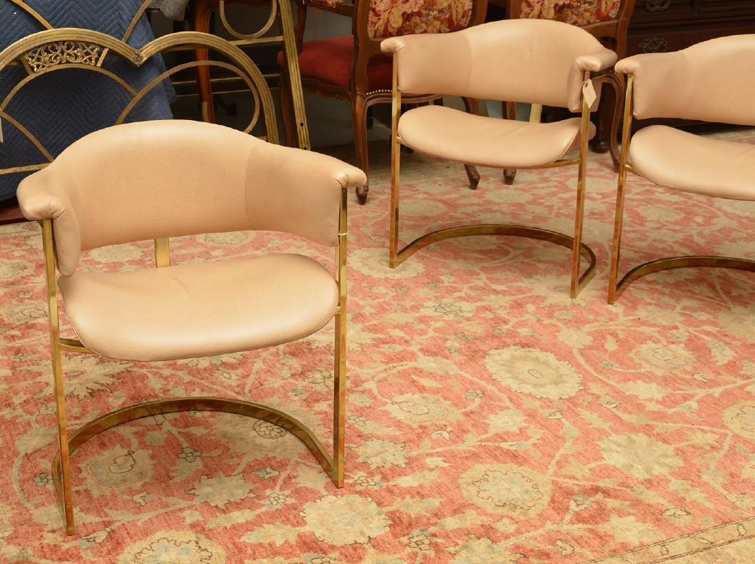 Set (4) Onassis style leather armchairs