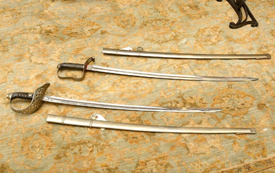 (2) antique Continental cavalry swords - 2