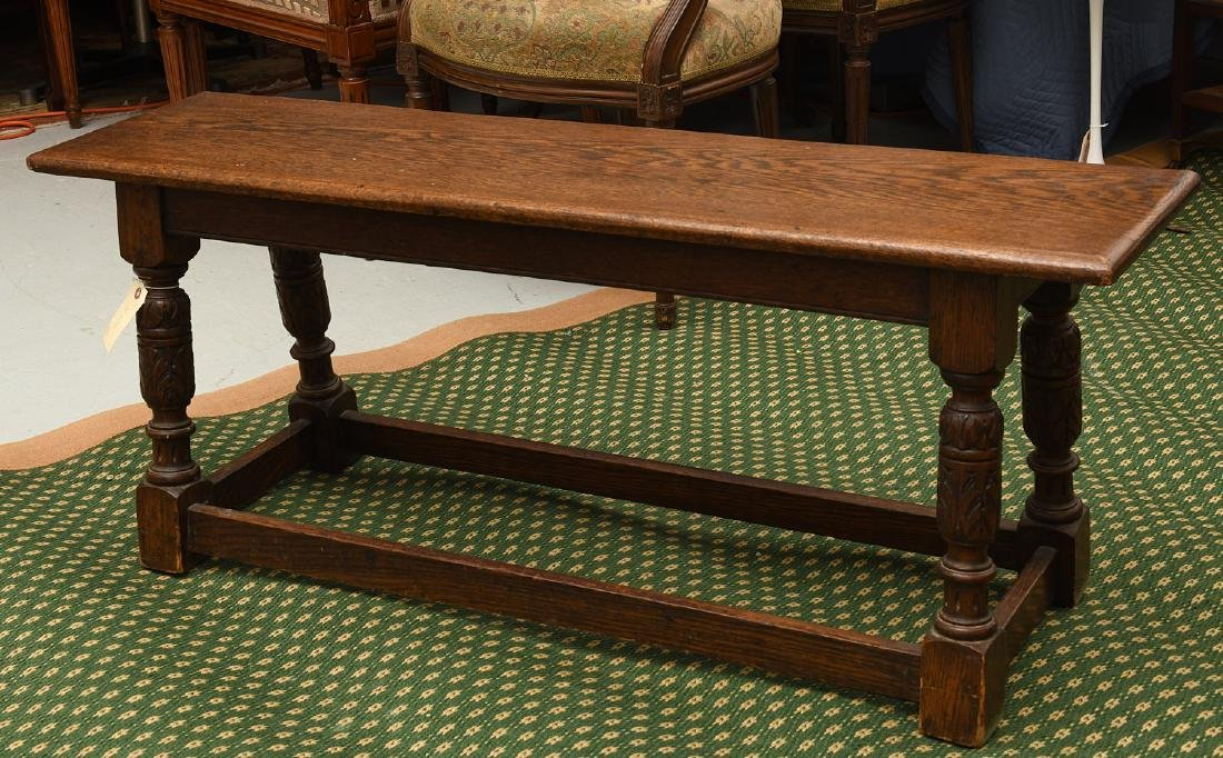 Jacobean style carved oak bench