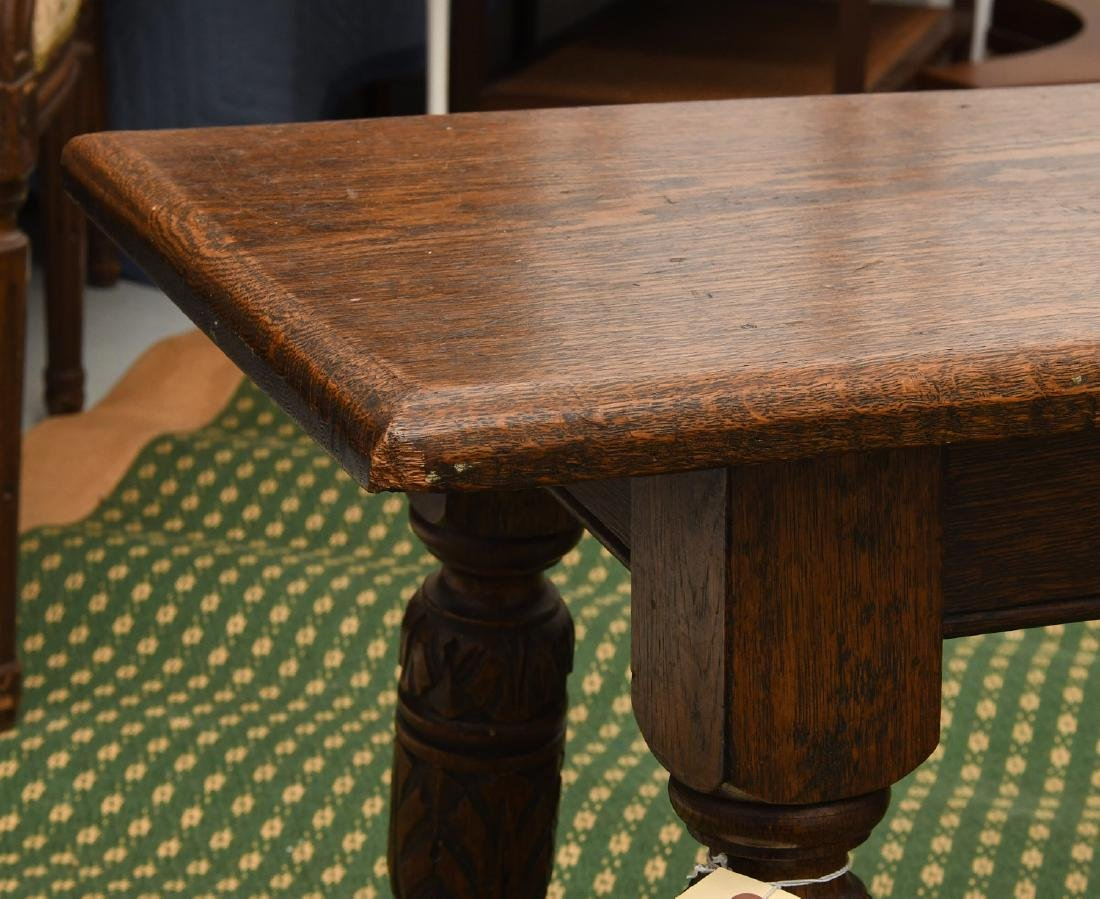 Jacobean style carved oak bench - 3