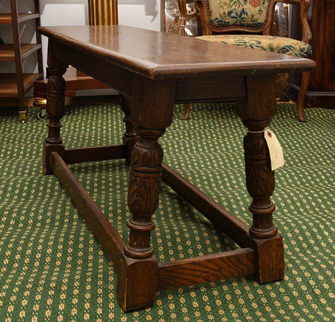 Jacobean style carved oak bench - 5