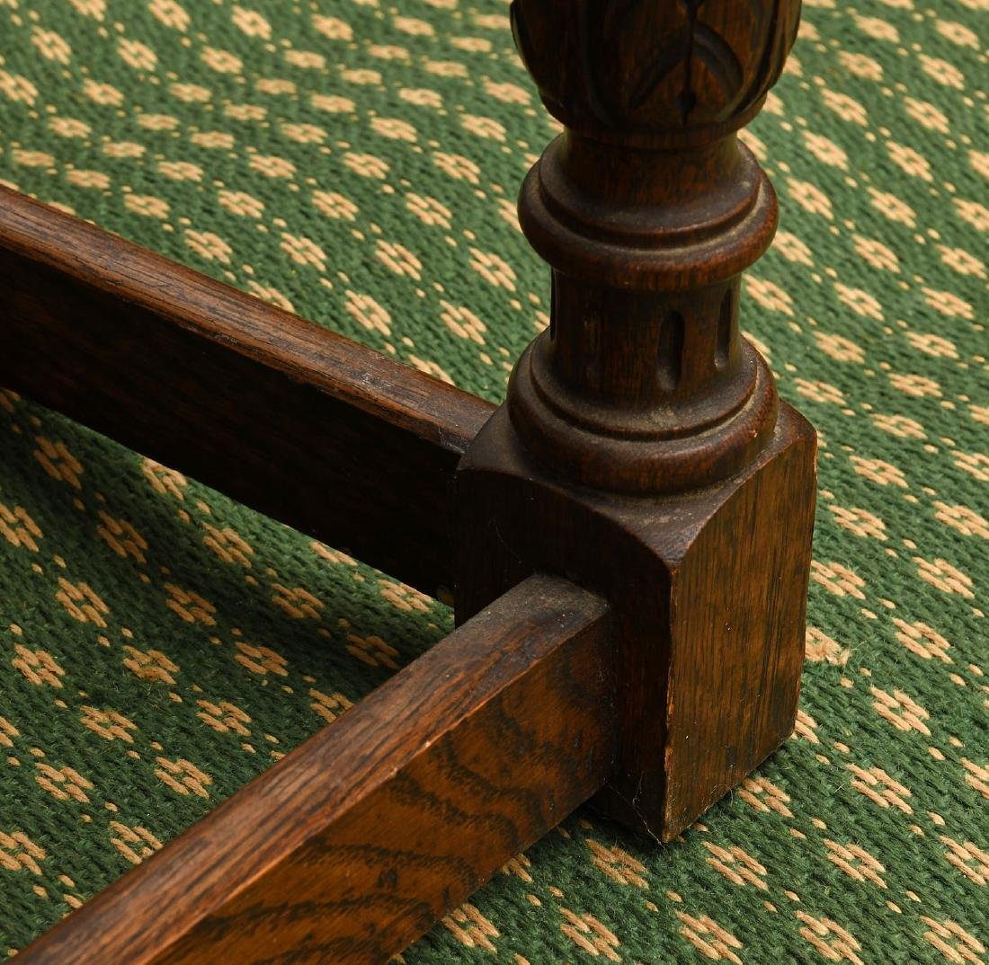Jacobean style carved oak bench - 6