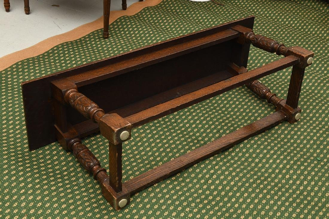 Jacobean style carved oak bench - 7