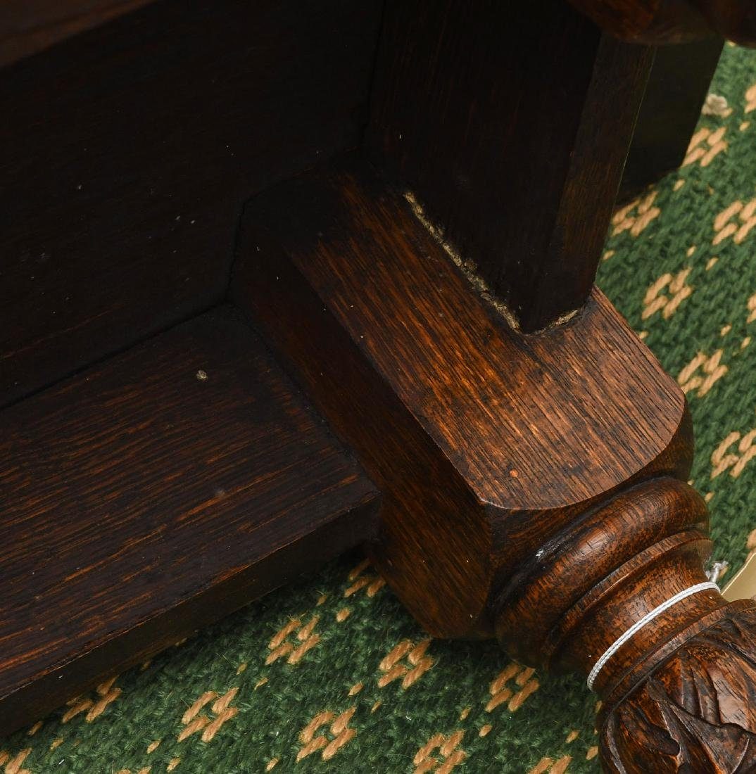 Jacobean style carved oak bench - 8