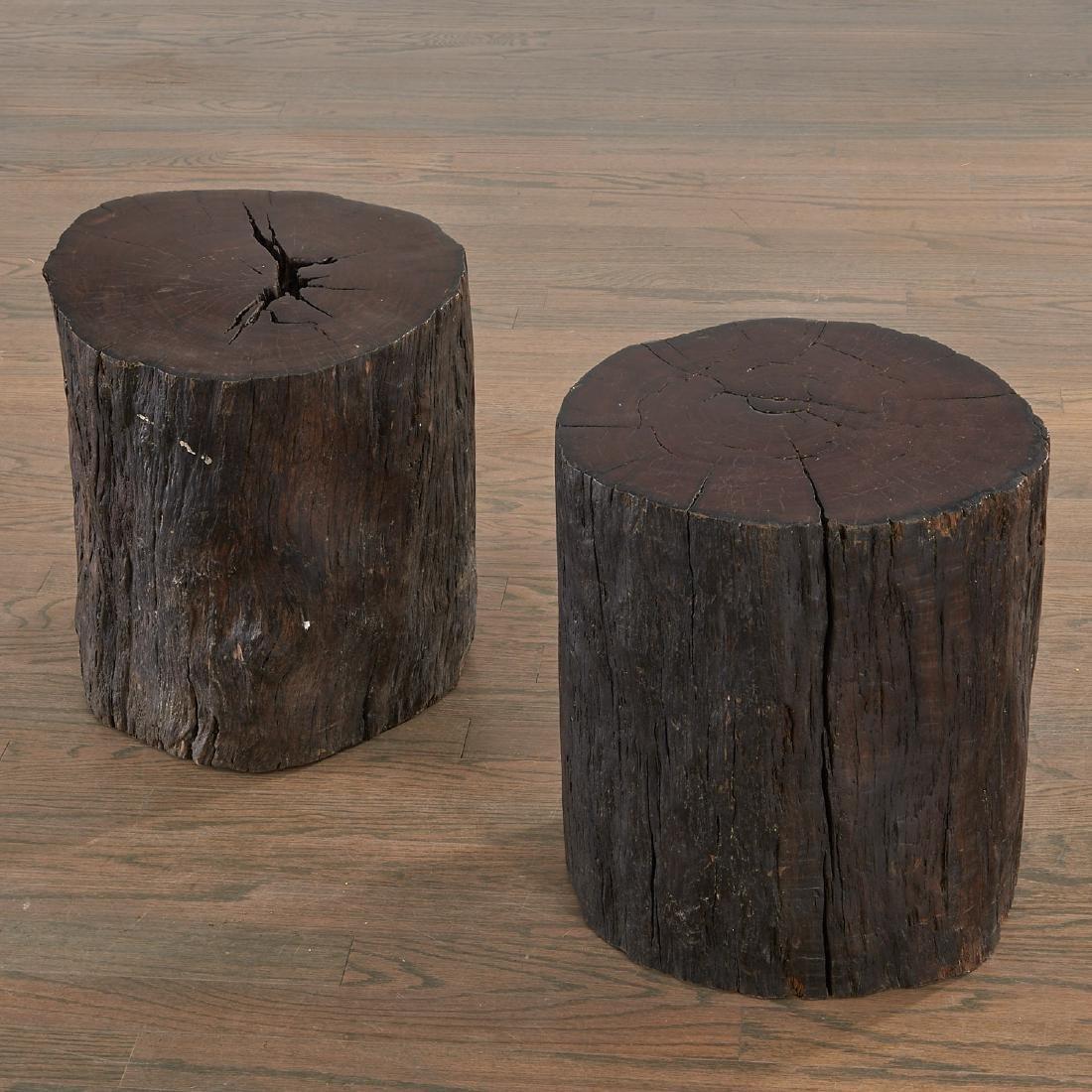 Pair Lignum Vitae trunk tables/stools