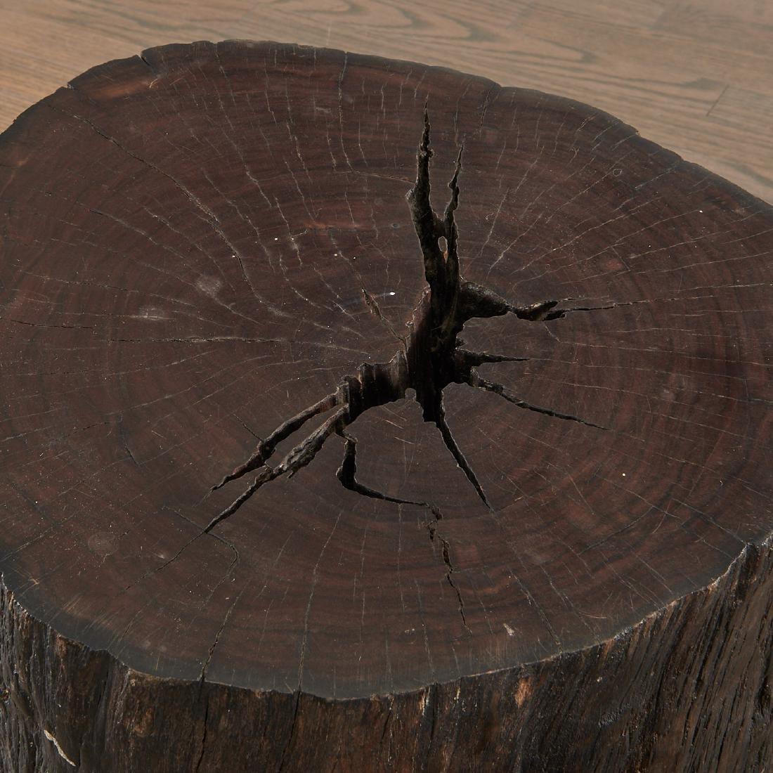 Pair Lignum Vitae trunk tables/stools - 2