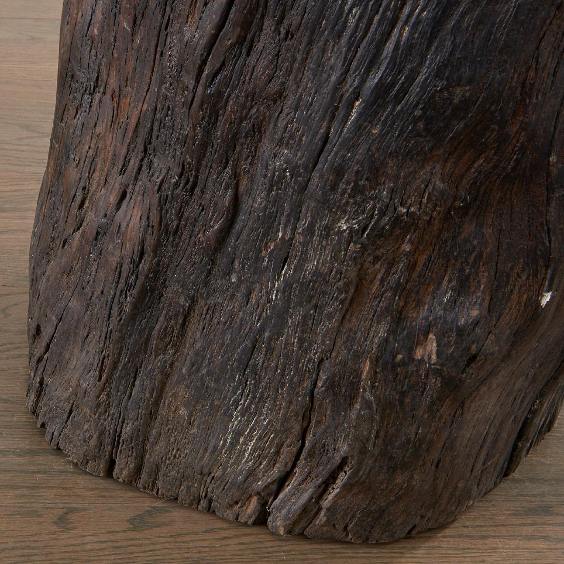 Pair Lignum Vitae trunk tables/stools - 4