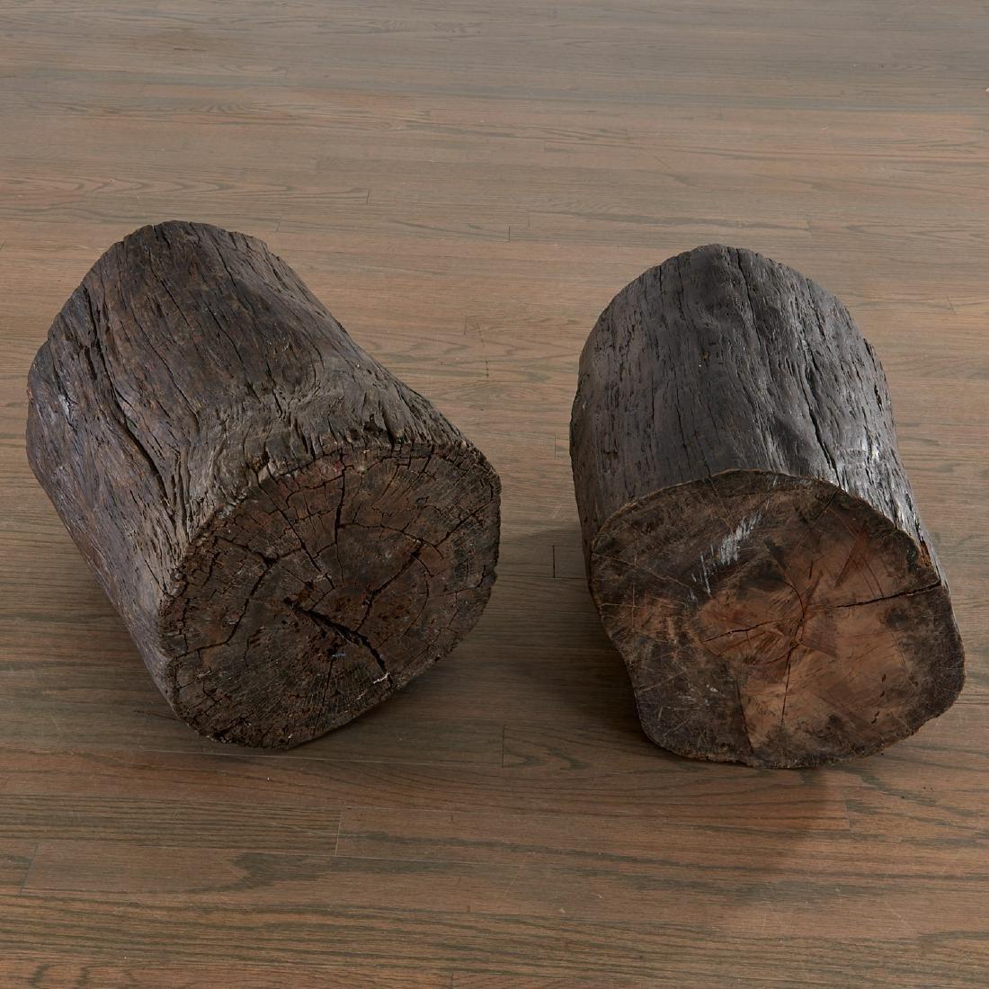 Pair Lignum Vitae trunk tables/stools - 7