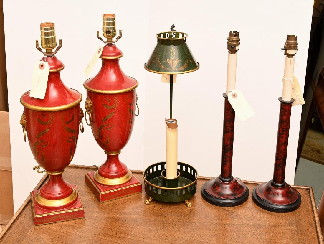 Group (5) Continental antique style table lamps