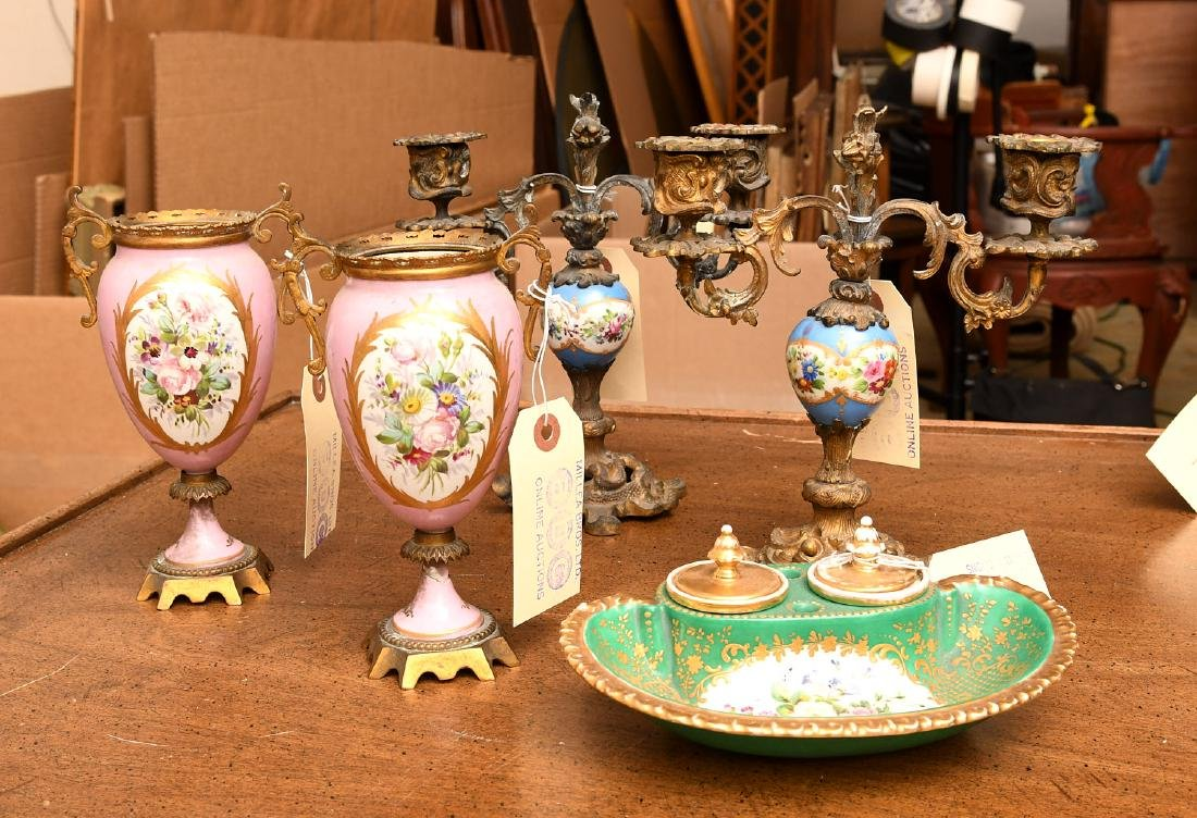 Collection (5) Sevres style porcelains