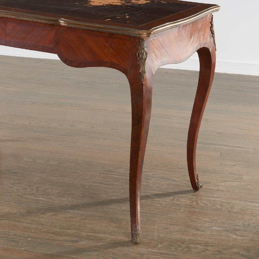Louix XV bronze mounted mahogany bureau plat - 5