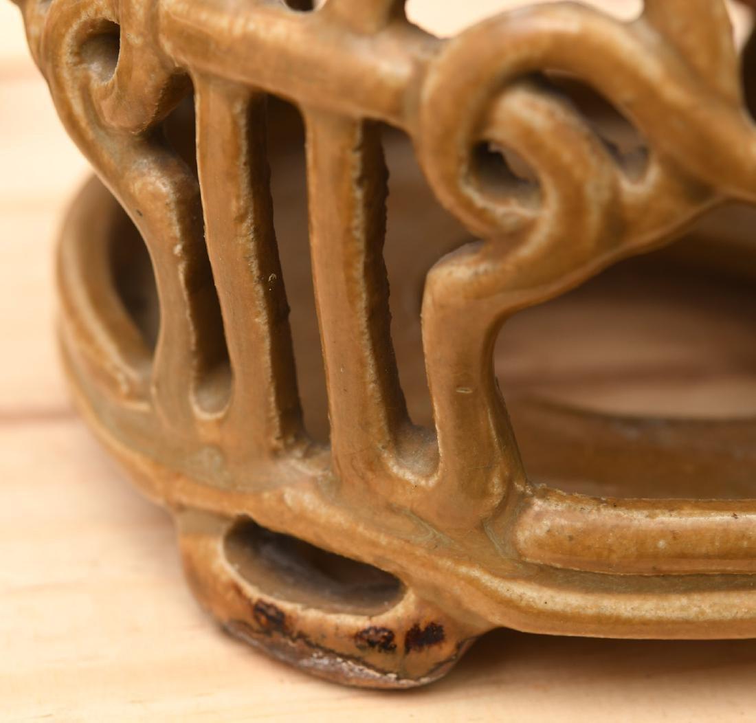 Chinese Jinware style glazed ceramic stand - 2