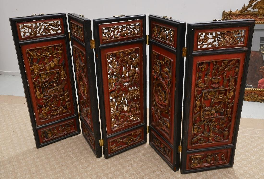 Nicely carved Chinese red lacquer and gilt screen