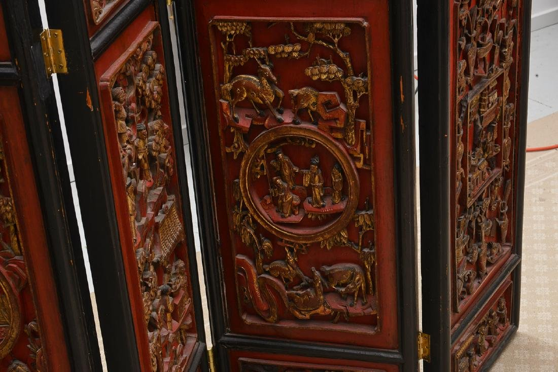 Nicely carved Chinese red lacquer and gilt screen - 2