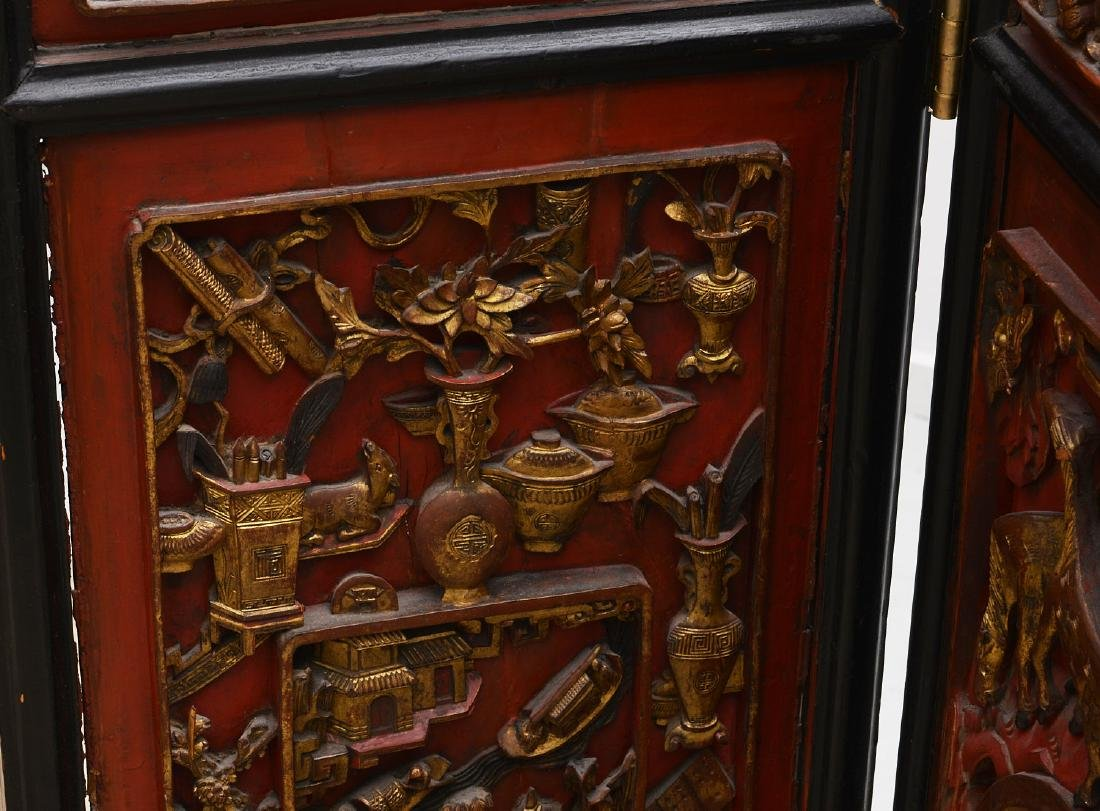 Nicely carved Chinese red lacquer and gilt screen - 3