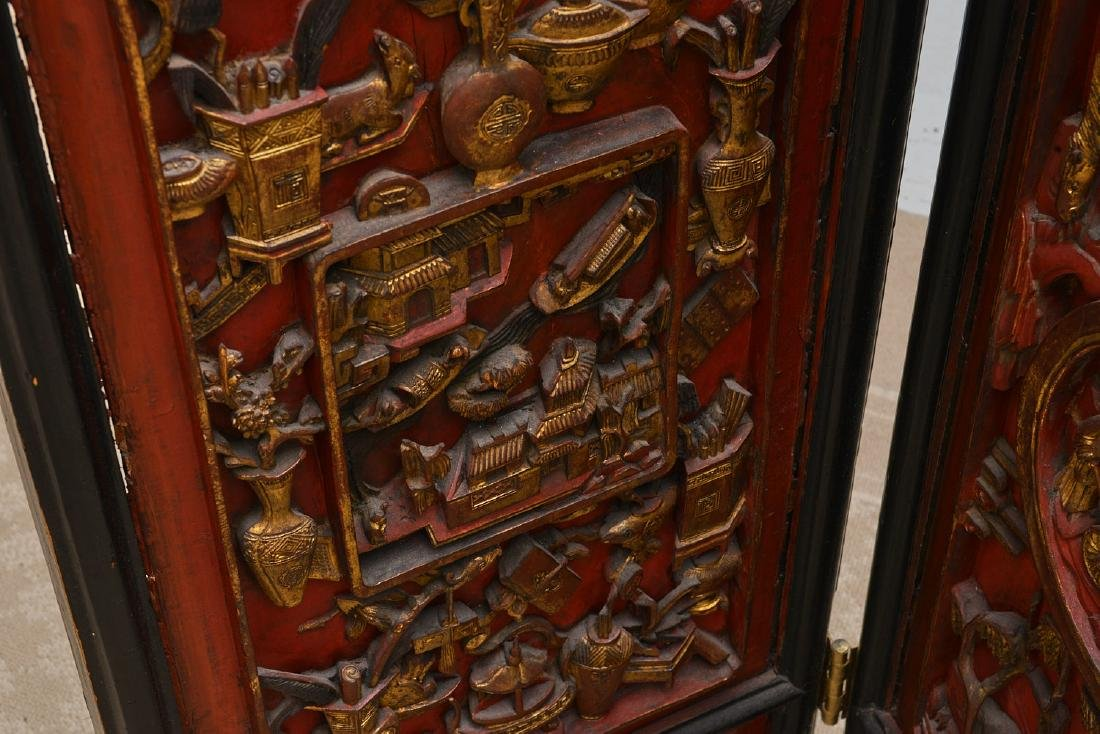 Nicely carved Chinese red lacquer and gilt screen - 5