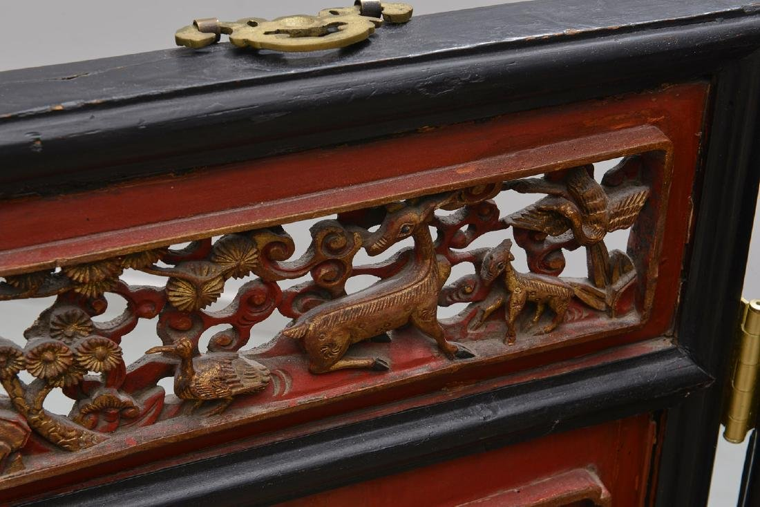 Nicely carved Chinese red lacquer and gilt screen - 9