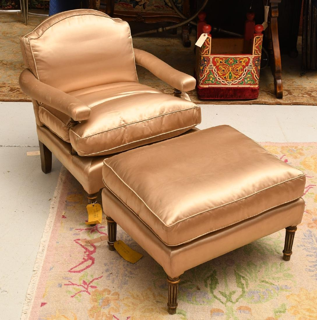 Louis XVI style fauteuil and ottoman