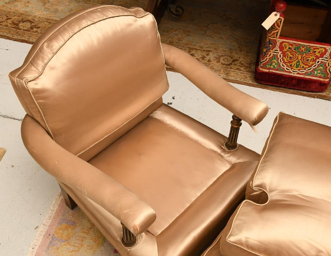 Louis XVI style fauteuil and ottoman - 5