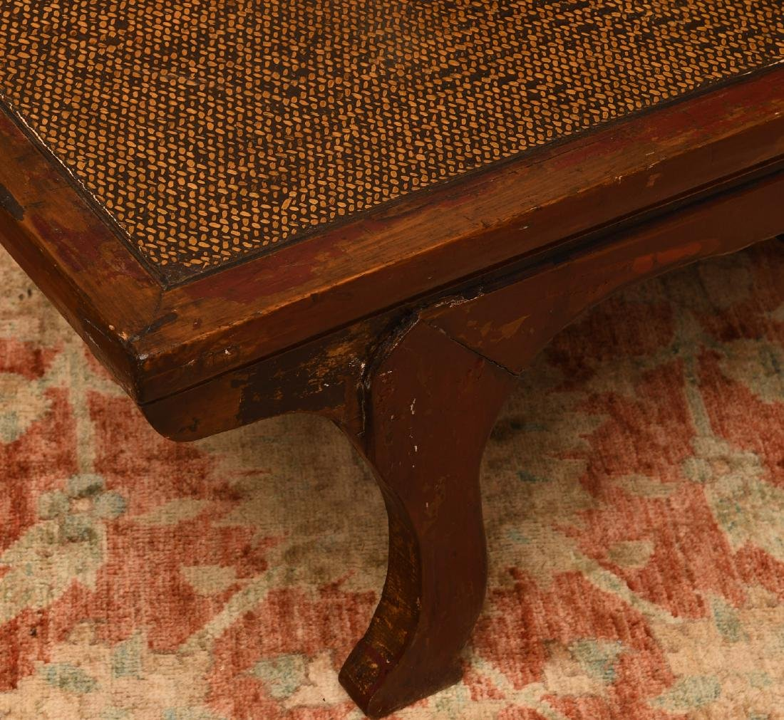 Chinese red-painted hardwood low table/bench - 2