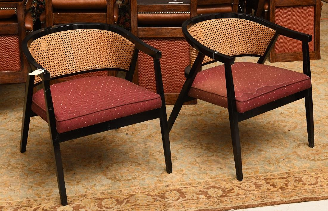 Pair Harvey Probber style caned barrel chairs