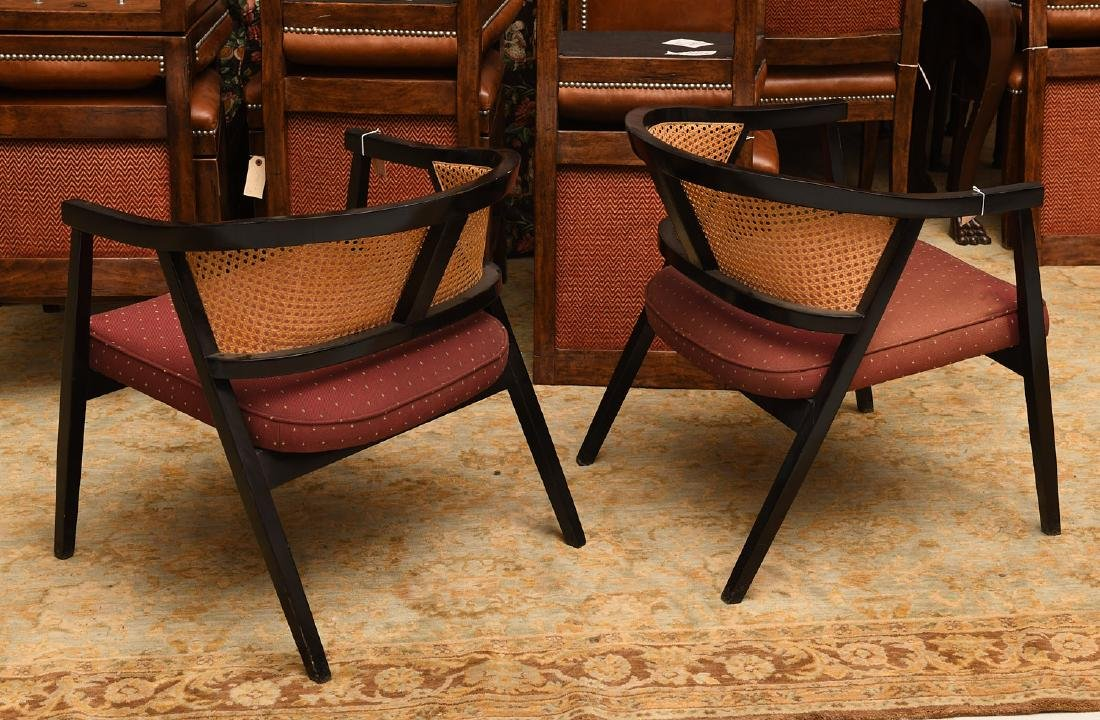Pair Harvey Probber style caned barrel chairs - 4