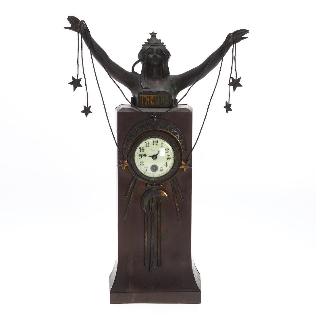 Art Nouveau patinated bronze figural clock - 2