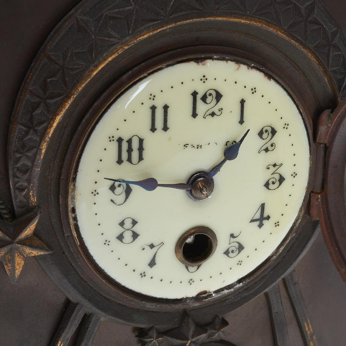 Art Nouveau patinated bronze figural clock - 4