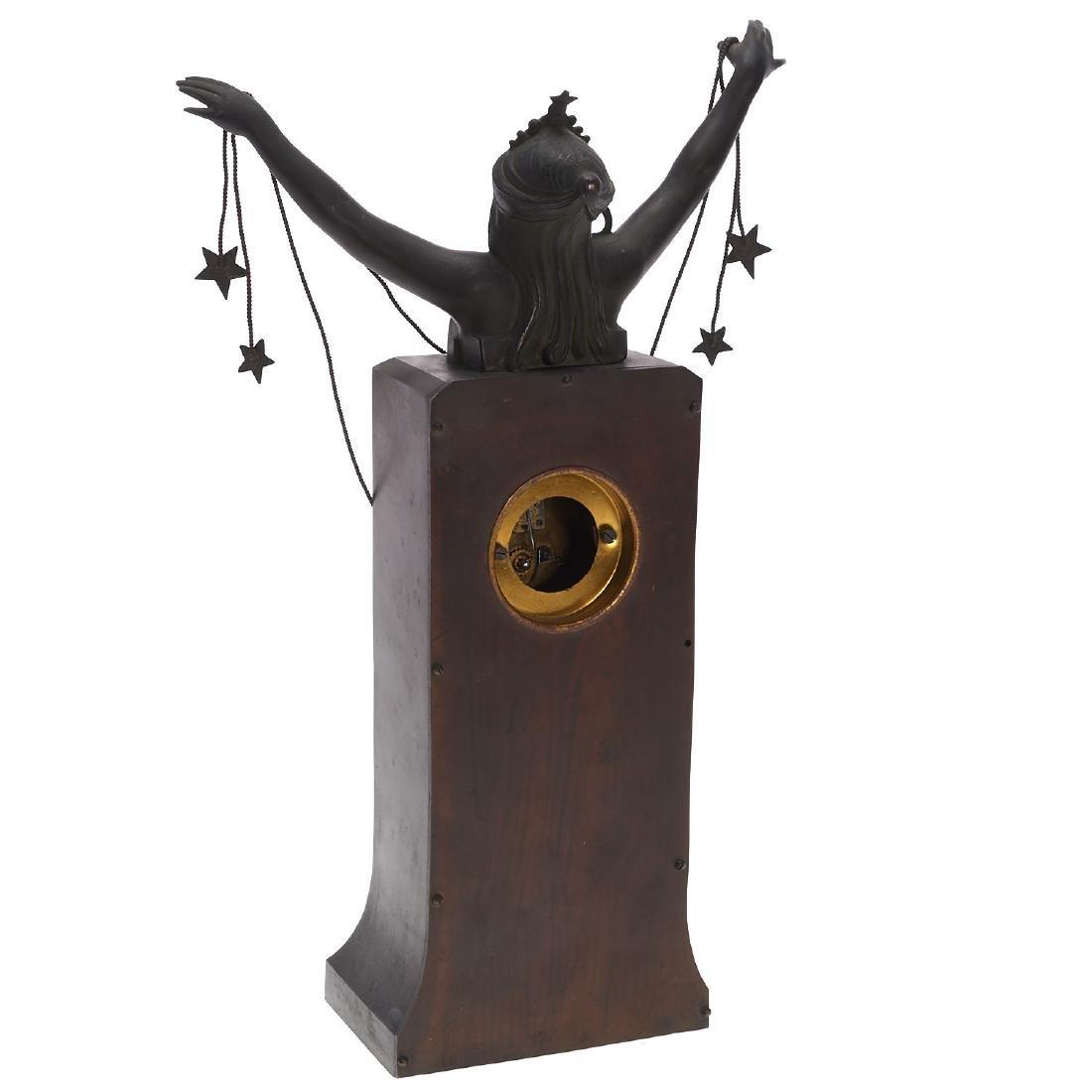 Art Nouveau patinated bronze figural clock - 5