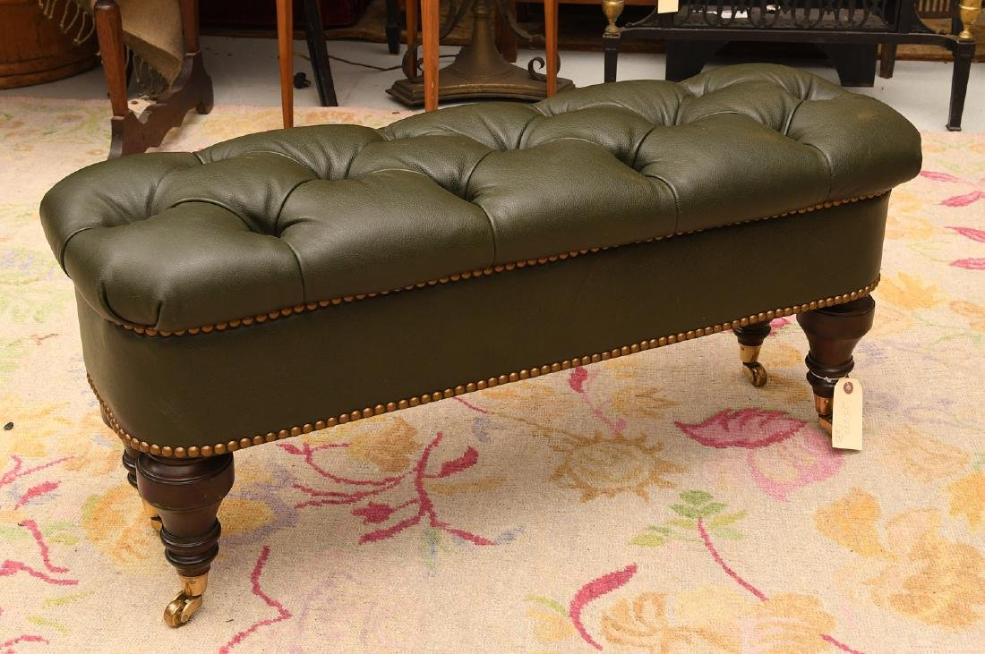 Chesterfield style green leather ottoman / bench