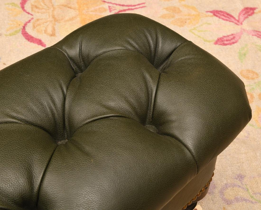 Chesterfield style green leather ottoman / bench - 2