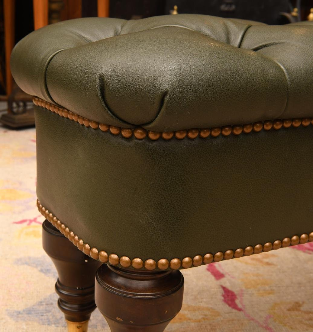 Chesterfield style green leather ottoman / bench - 3