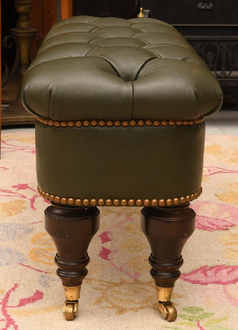 Chesterfield style green leather ottoman / bench - 5