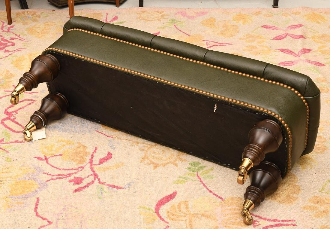 Chesterfield style green leather ottoman / bench - 6