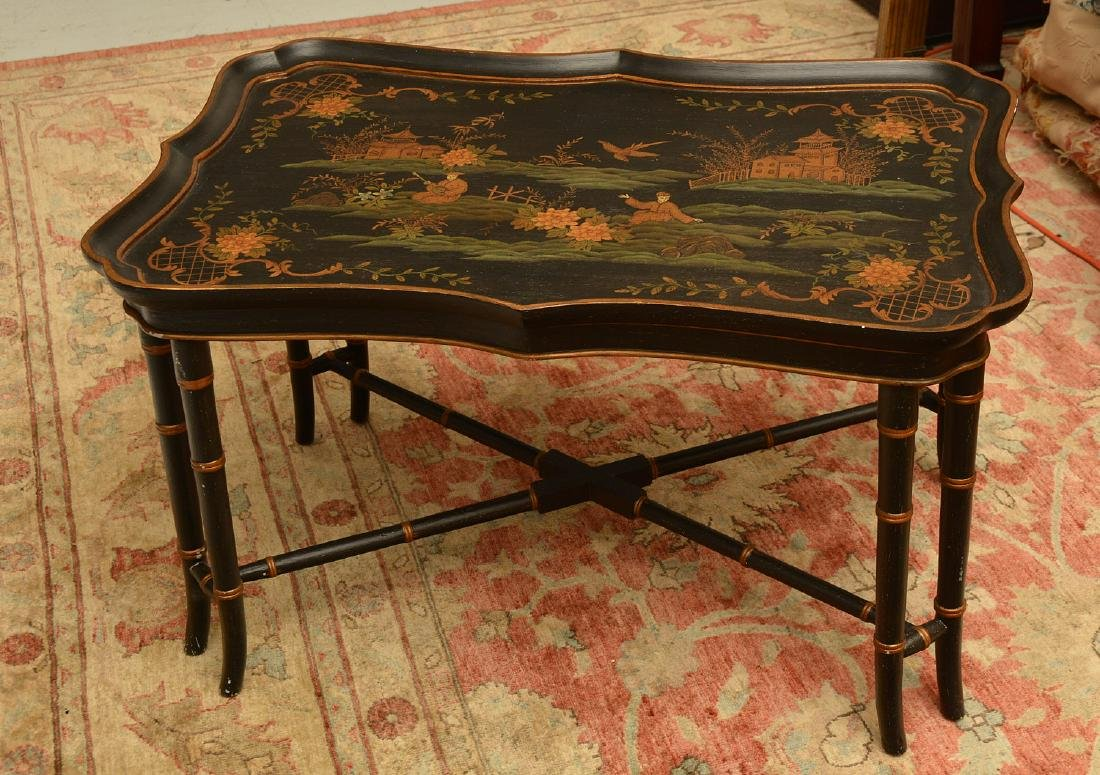 Chinoiserie faux bamboo tray table