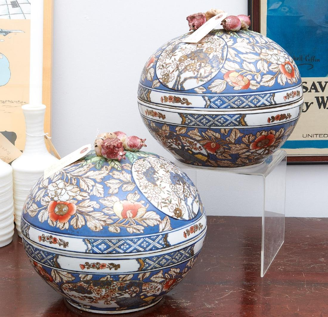 Pair Chinese porcelain covered centerpiece bowls