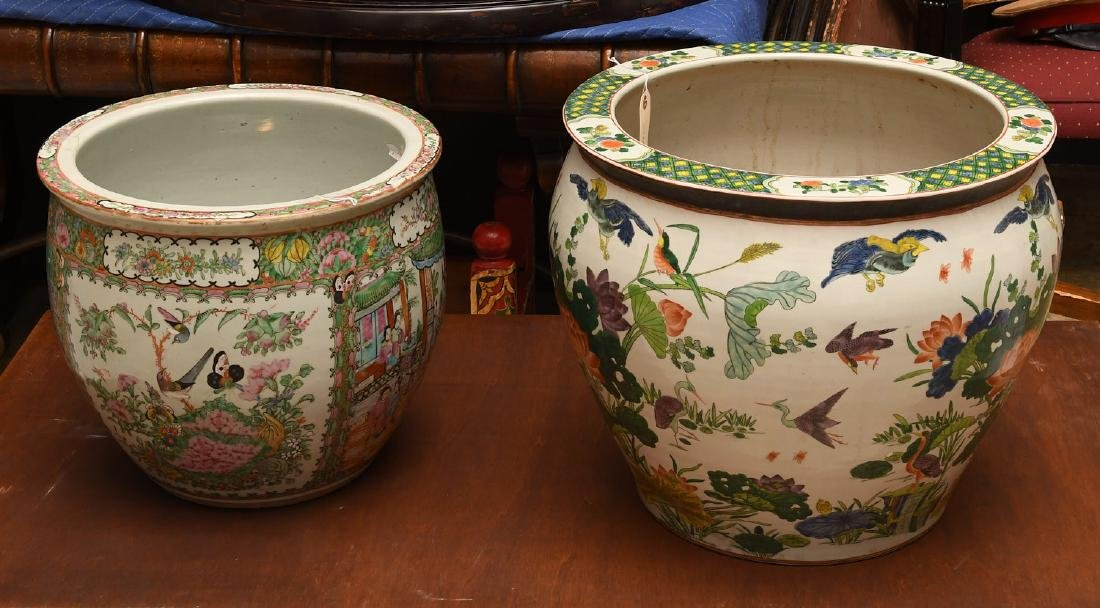 Chinese famille rose and famille verte fish bowls