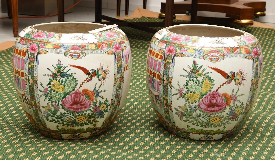 Pair Chinese rose medallion planters