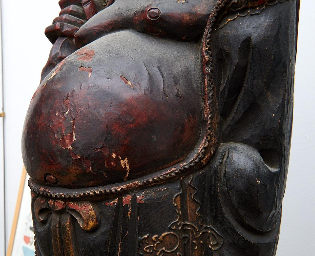 Chinese large carved wood laughing Buddha on stand - 4