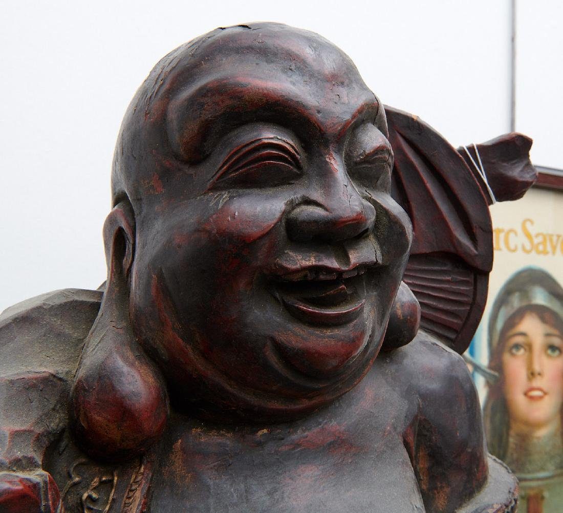 Chinese large carved wood laughing Buddha on stand - 5