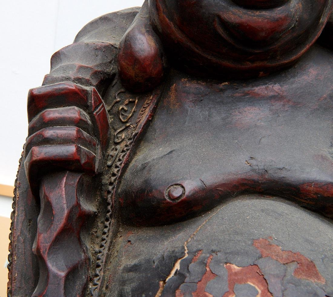 Chinese large carved wood laughing Buddha on stand - 6