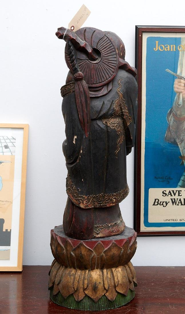 Chinese large carved wood laughing Buddha on stand - 8