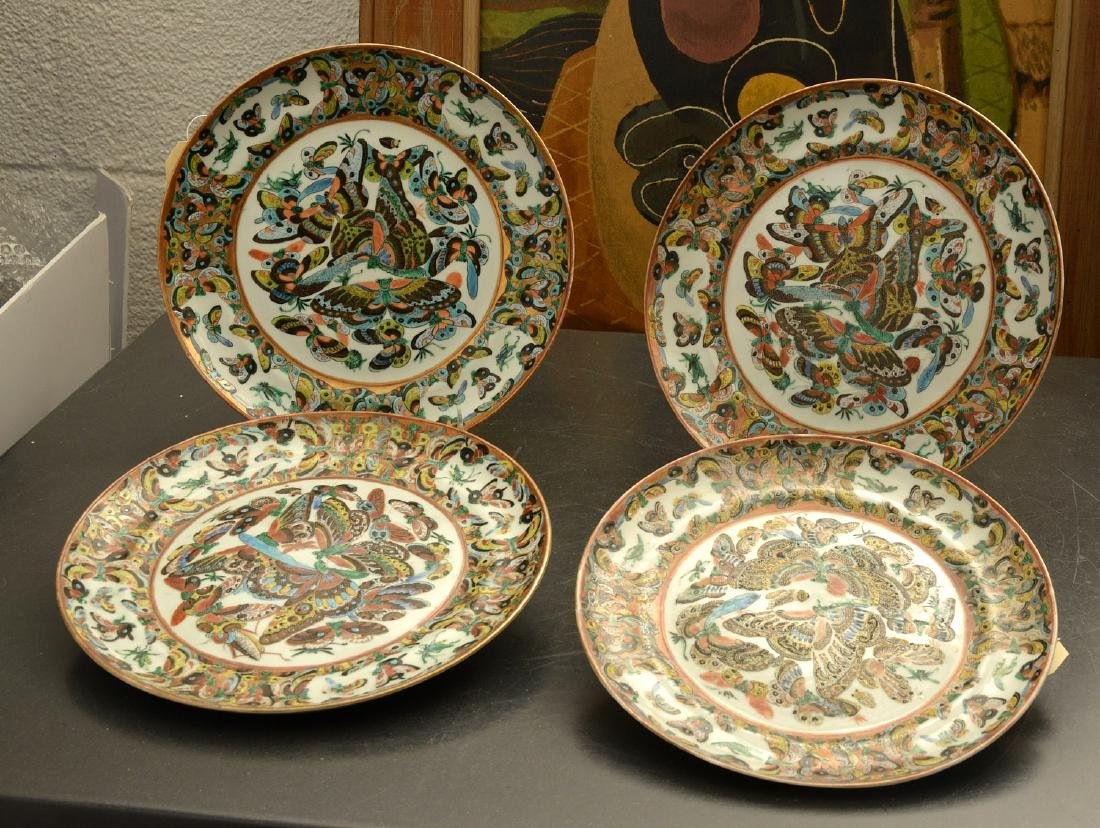 Set (4) Chinese 1000 butterfly plates