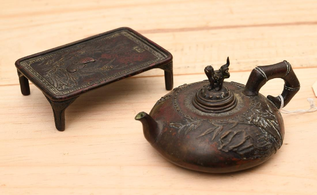 (2) Japanese patinated bronze miniatures