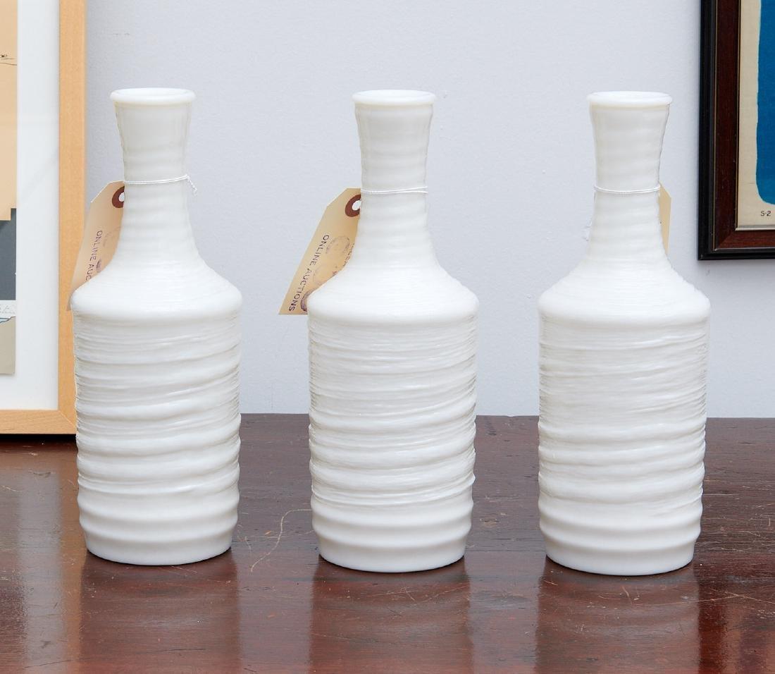 (3) Japanese textured glass sake bottles