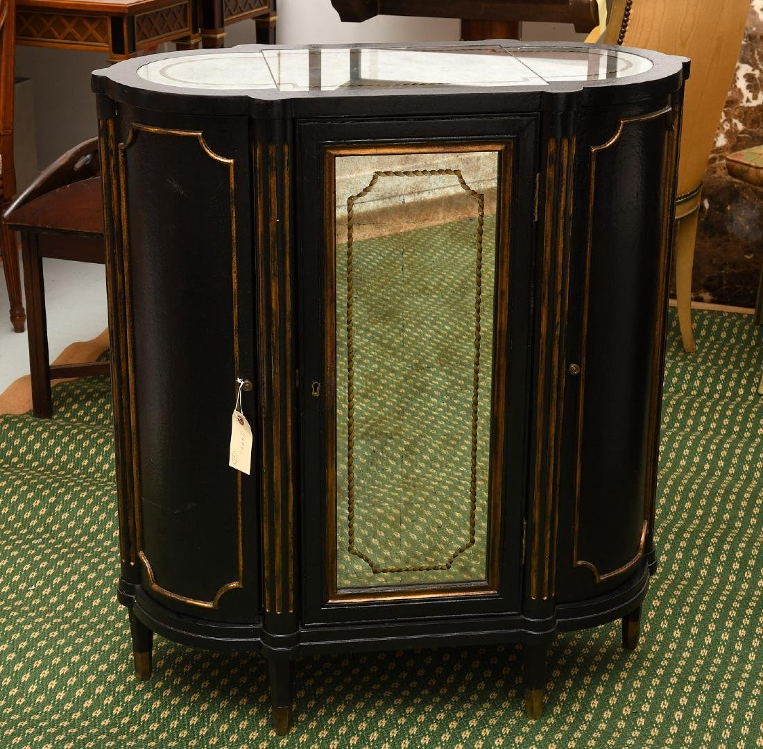 Decorator black lacquered mirrored cabinet